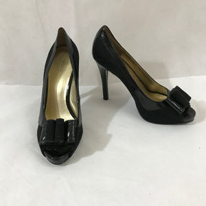 Black Nine West Open Toed 4.5 in. Heels - Size 8.5